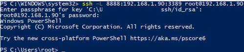 windows 10 connect rsp via ssh tunneling