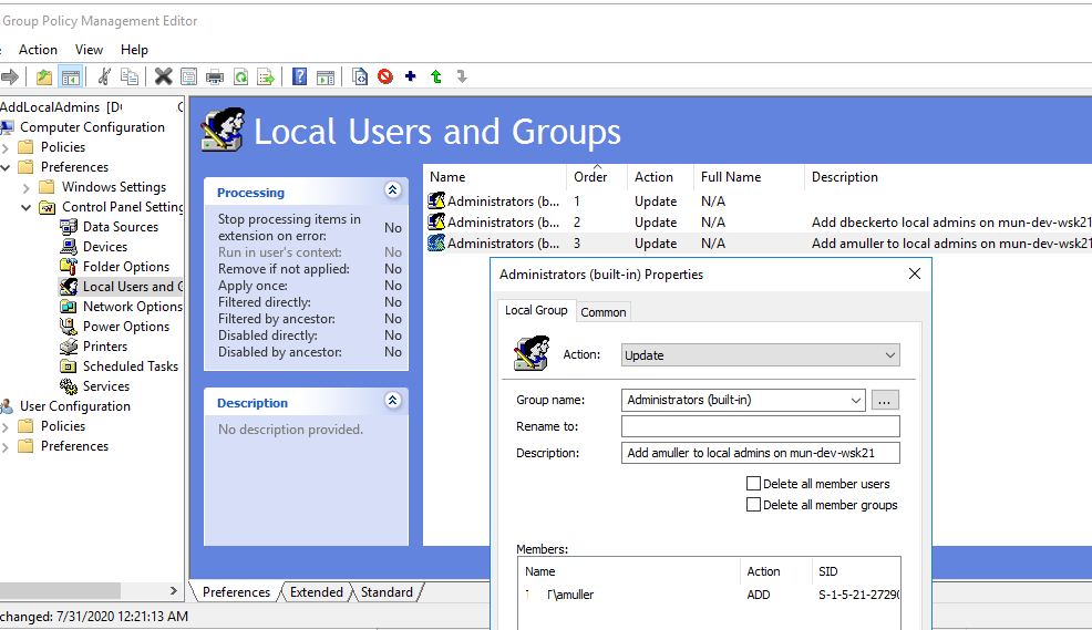 add user user to the local admin group using group policy preferences