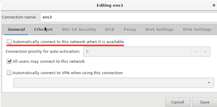autoactivate LAN on centos with option Automatically connect to this network when it is available