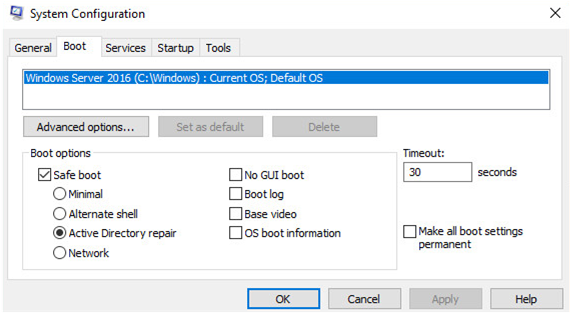 boot your server in a Active Directory repair mode (DSRM