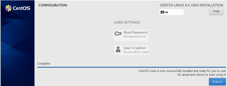 centos linux is sucessfully installed