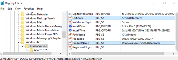 check the EditionID and ProductName on windows server datacenter