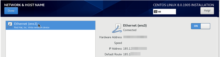 configured ens3 ethernet interface (connected)