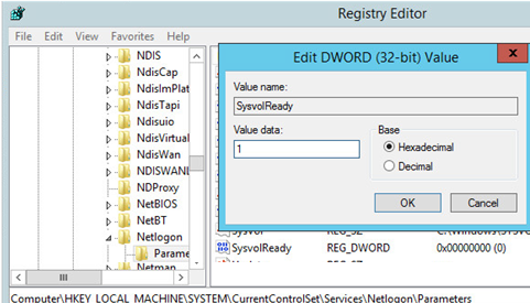 dc registry SysvolReady set to 1