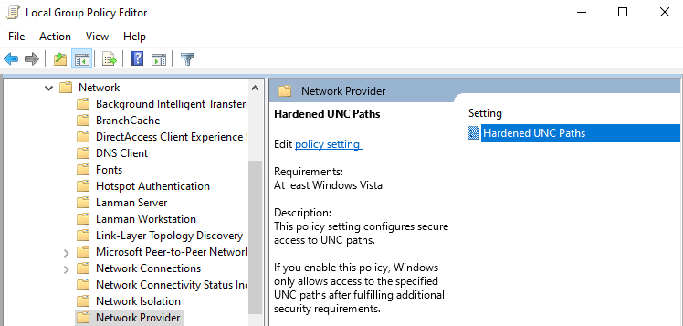 Hardened UNC Paths policy
