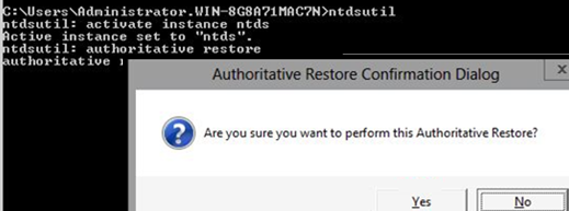 ntdsutil authoritaive restore a single ad object