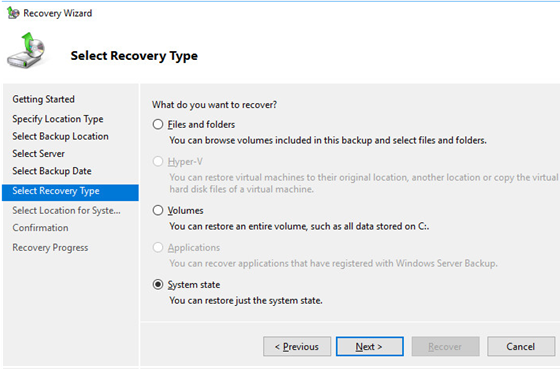 recover system state backup on active directory domain controller