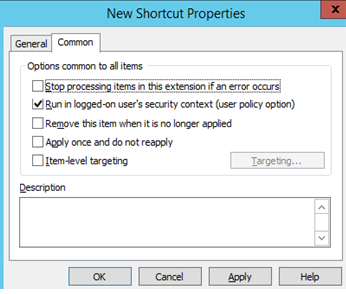 Run in logged-on user's security context (user policy option)