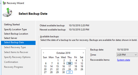 select dc backup date