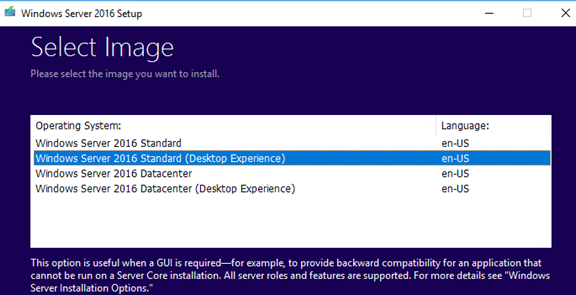 select windows server standard edition downgrade to