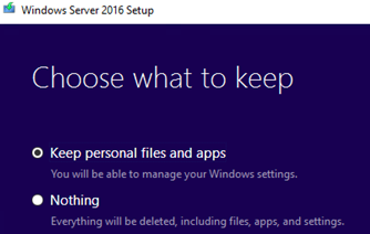 update windows server edition - option Keep personal files and apps