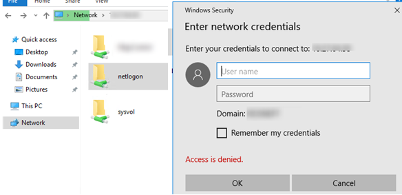 windows 10 unable to access sysvol and netlogon