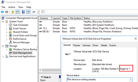 windows get scsi disk number - bus number, target id