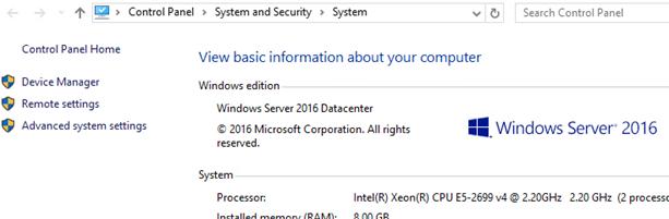 Windows Server 2016 Datacenter downgrade
