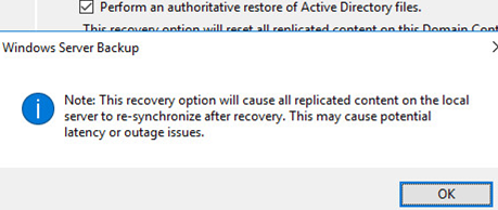 Windows Server Backup Note: This recovery option will cause replicated content on the local server to re-synchronize after recovery. This may cause potential latency or outage issues.
