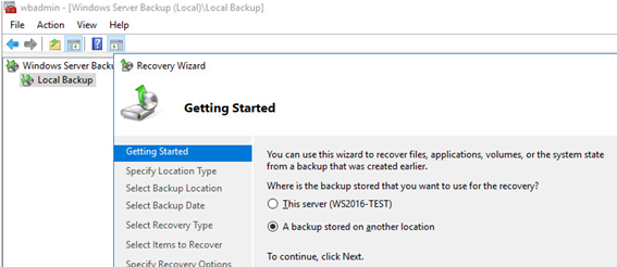 Windows server backup: restore a backup stored on another location