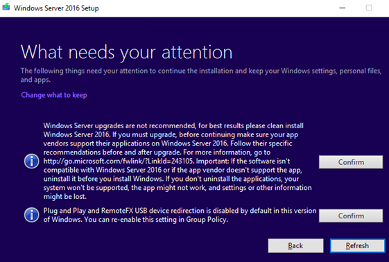 windows server upgrade is not recommended