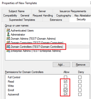 allow Enroll and Autoenroll certificates to Domain Controllers