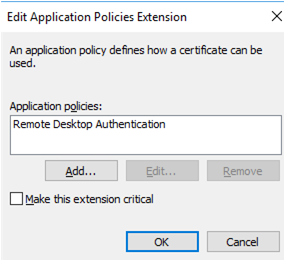 create Remote Desktop Authentication certificate policy template