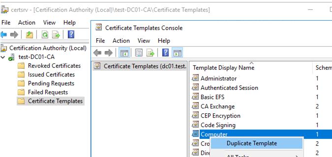 dublicate computer cetrificate template in windows ca