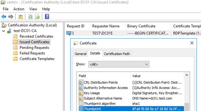 get certificate Thumbprint via the certsrv mmc console