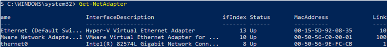 Get-NetAdapter - list connected network adapters
