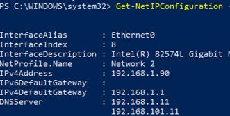 Get-NetIPConfiguration - Retrieve the IP configuration on WIndows via PowerShell