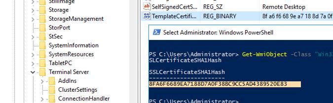 get rdp certificate thumbprint using powershell