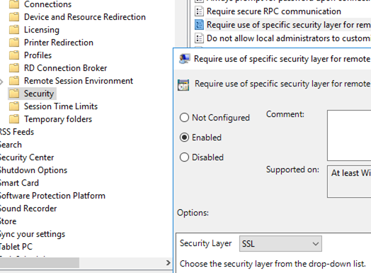 group policy parameter Require use of SSL security layer for remote (RDP) connections