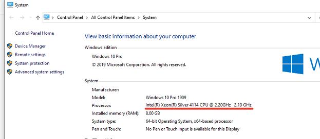 Intel(R) Xeon(R) Silver 4114 multi core CPU on virtual macnine
