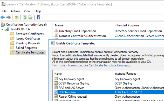 new rdp certificate template in certification authority