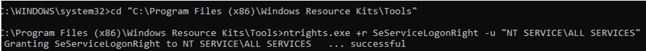 ntrights.exe SeServiceLogonRight to NT SERVICE\ALL SERVICES