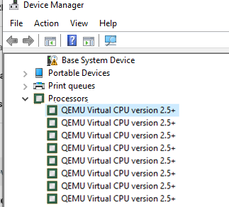 QEMU Virtual CPU version 2.5 multi processor virtual machine on KVM