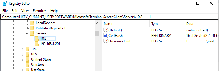 rdp CertHash value in the registry