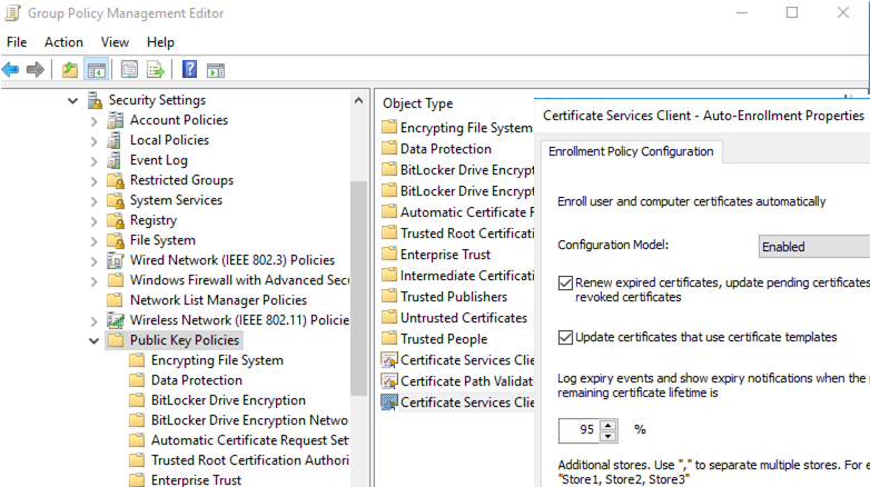 rdp certificate Auto-Enrollment group policy settings