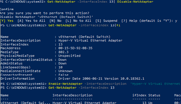 Using PowerShell to disable a network adapter