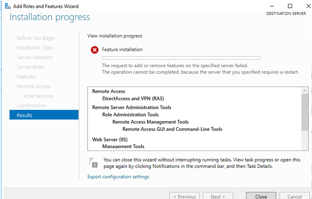 """Windows Server Feature Installation error """"The request to add or remove features on the specified server failed, because the server requires a restart"""""""