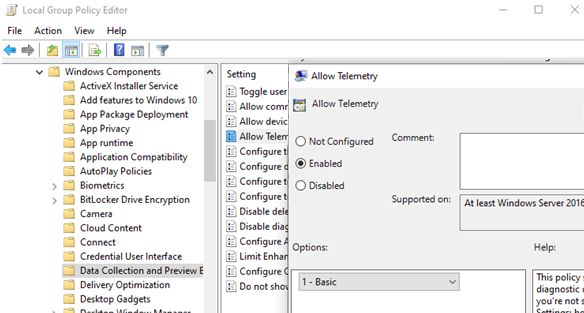 allow telemetry group policy