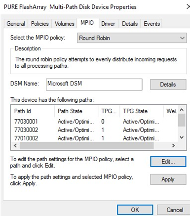 change MPIO load balancing policy on Windows Server 2016
