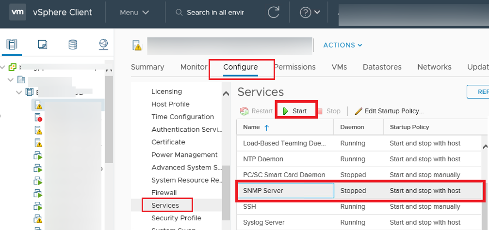 enable snmp server on vmware esxi host via vsphere client