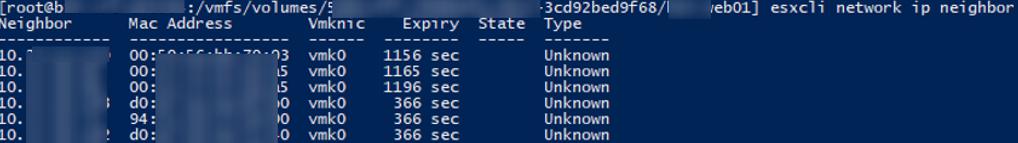 esxcli network ip neighbor - list MAC addresses