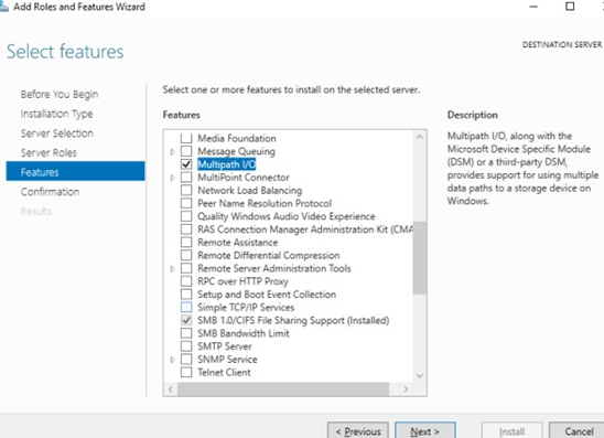 Install MPIO feature on WIndows Server via Server Manager