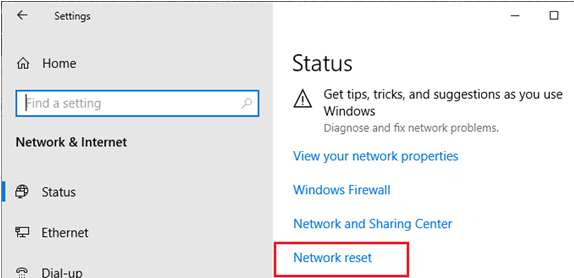 network reset on windows 10