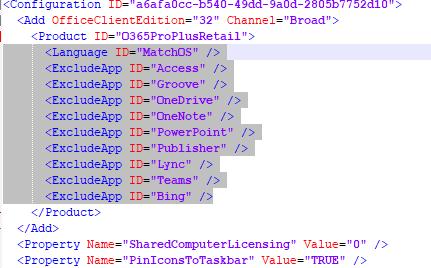 Office Click-To-Run configuration XML file