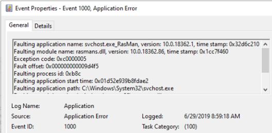 svchost.exe_RasMan Always on VPN connection error