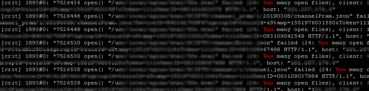 Too many open files error in Linux log files
