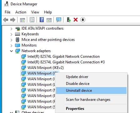 uninstall wan miniport ip device