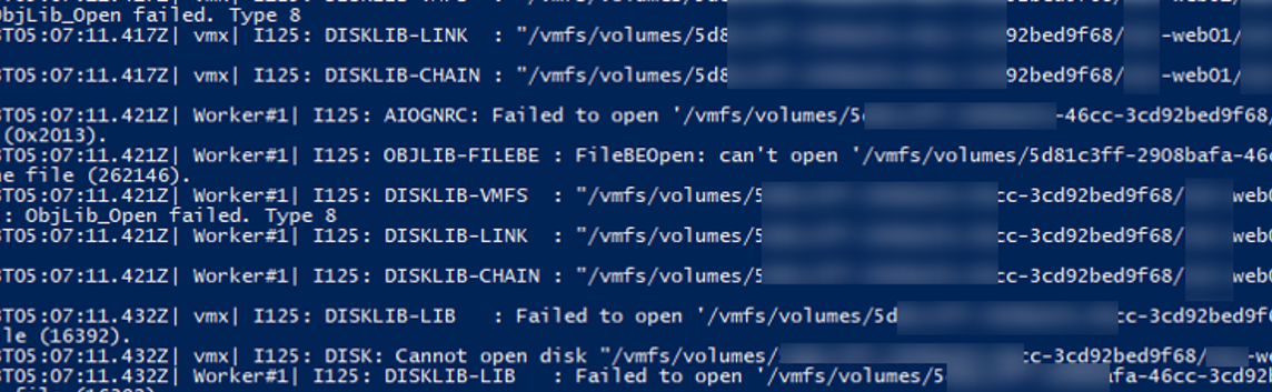 vmware.log Failed to lock the file