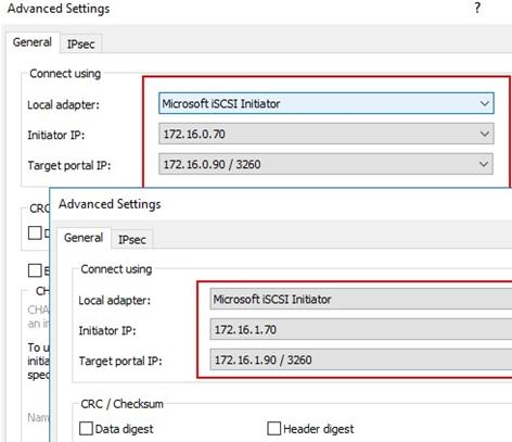 Windows Server 2016 multipath iscsi - bind different target IP addresses to different initiators