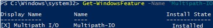 windows server - get 'Multipath-IO' powershell